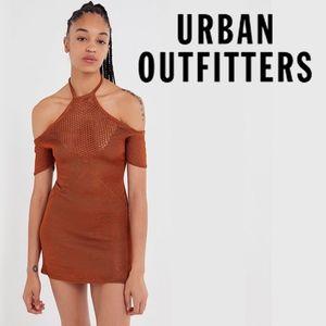 UO Metallic Cold Shoulder Bodycon Sweater Dress